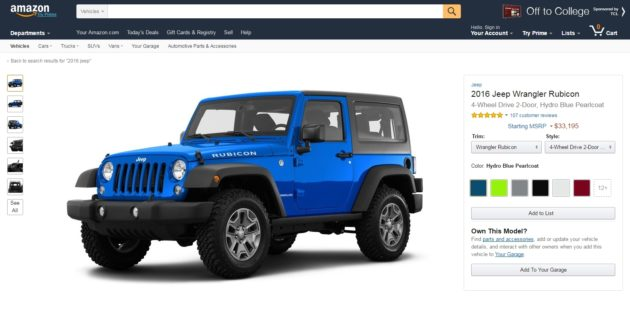 Amazon Vehicles lets people look at images, videos, specs and reviews of cars. Credit: Amazon