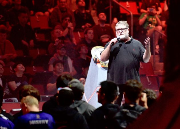 Valve CEO Gabe Newell addresses the crowd at The International on Monday.