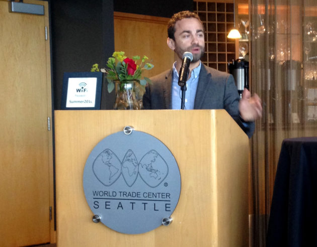 Remitly CEO Matt Oppenheimer speaking at an immigration reform event in Seattle.