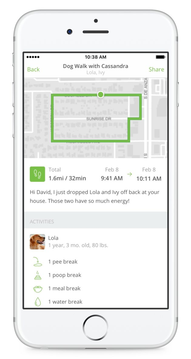 Rover's new features let pet sitters and dog walkers give more feedback to owners. Photo via Rover.