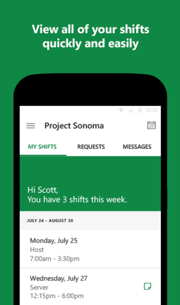 A look at Project Sonoma, a Microsoft app for shift workers that is in preview mode on the Google Play Store.