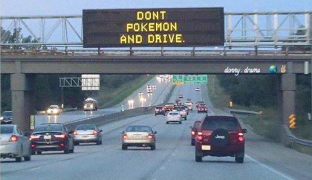 A highway sign in New Zealand warns players not to play Pokémon Go while driving. Credit: Waikato District Police
