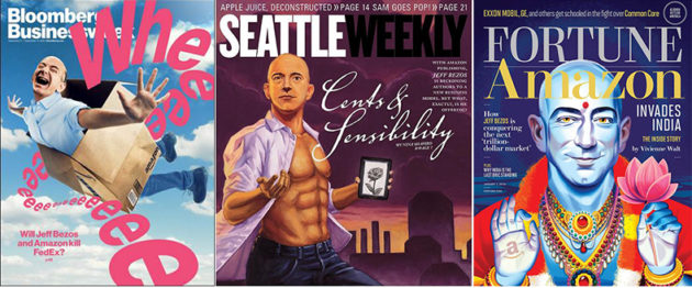 Bloomberg, Seattle Weekly, and Fortune depict the many faces of Amazon CEO Jeff Bezos.