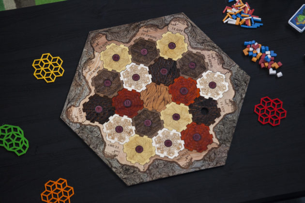 "This ""Catan coaster"" was made with the Glowforge printer. Photo via Glowforge."