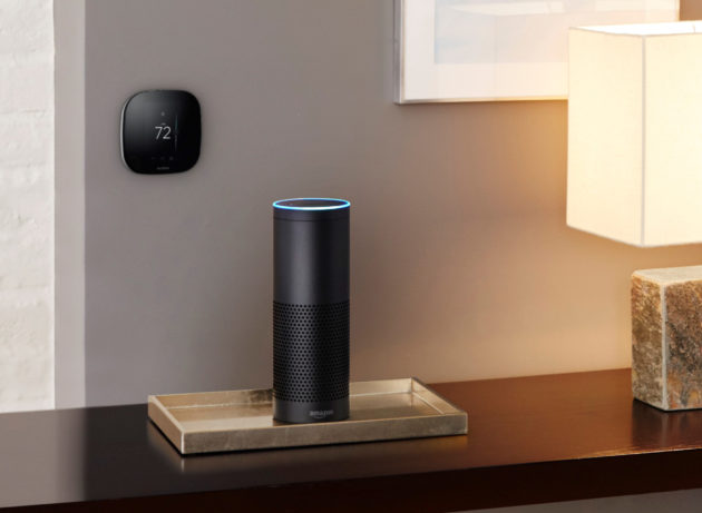 This smart thermostat integrates with Amazon's digital AI assistant Alexa. (Photo via Ecobee).