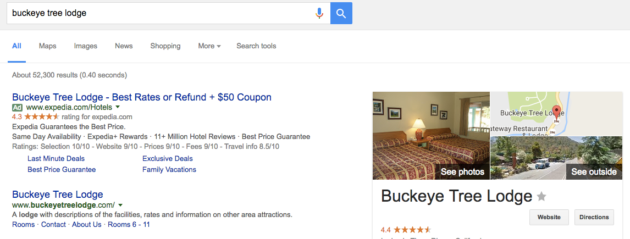 "Google search results for ""Buckeye Tree Lodge."""