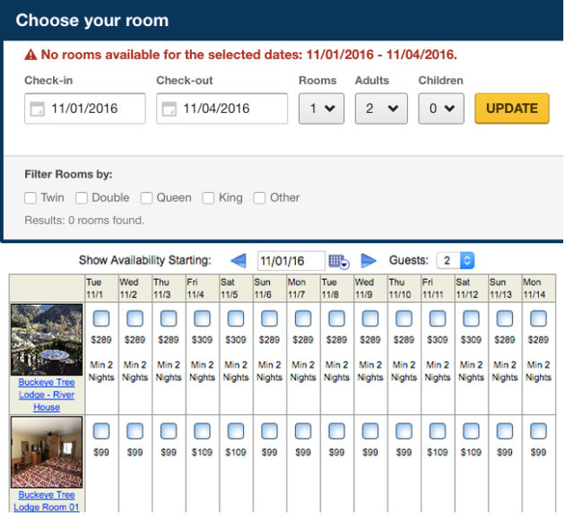 Expedia's website shows no vacancy Nov. 1 - 4. The Buckeye Tree Lodge says those nights are free.