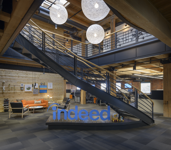 The lobby inside Indeed's office space in Seattle's Pioneer Square neighborhood