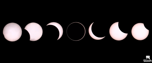 Slooh view of solar eclipse
