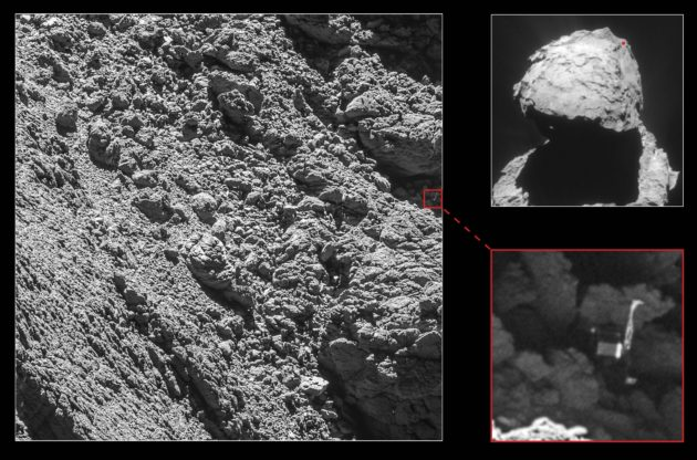 A series of images shows the location of the Philae lander on Comet 67P/Churyumov-Gerasimenko. The red dot on the image at upper right shows the area covered by the higher-resolution image at left, and the red box in that image shows the area covered by the extreme close-up at lower right. (Credit ESA / Rosetta / MPS for OSIRIS Team / UPD / LAM / IAA / SSO / INTA / UPM / DASP / IDA / NavCam)