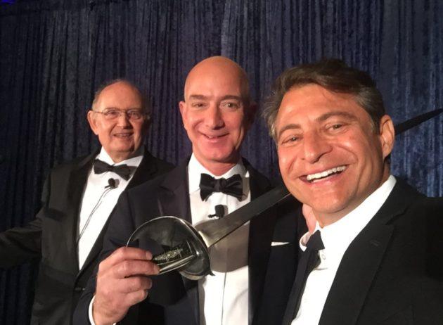 Selfie with Jeff Bezos and sword