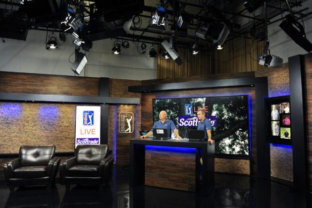 Dennis Paulson and John Swantek on the studio set of PGA TOUR Live at PGA TOUR Entertainment in St Augustine, FL. Photo by Chris Condon/PGA TOUR