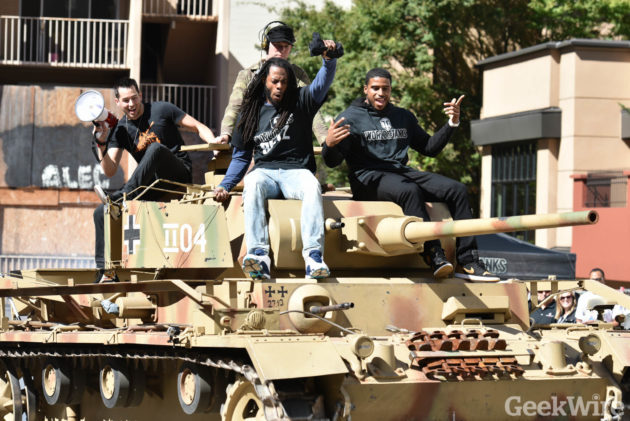 Richard Sherman & Bobby Wagner crushing stuff aboard a tank at PAX 2016 (Photo by Kevin Lisota)