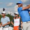 Dustin Johnson tees off at the PGA Tour Championship