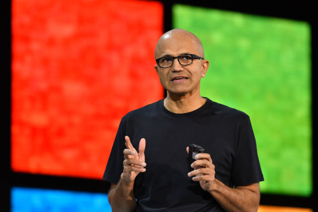 Satya Nadella speaks at Microsoft Ignite 2016 (GeekWire Photo/Kevin Lisota)