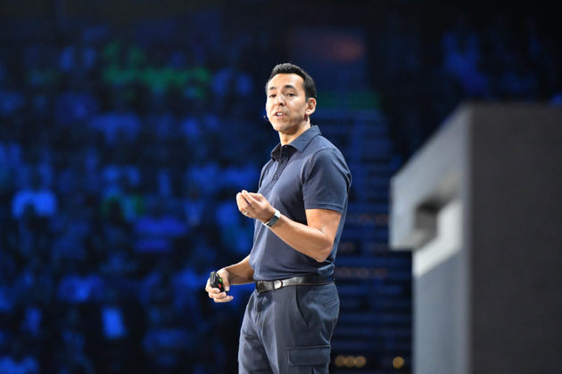 Yusuf Mehdi speaks at Microsoft Ignite in Atlanta last month. Photo by Kevin Lisota/GeekWire.