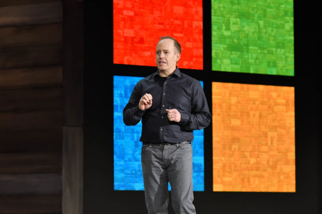 Doug Burger at Microsoft Ignite. (GeekWire Photo / Kevin Lisota)