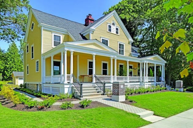 The historic colonial-revival architecture of Officer's Row at Fort Lawton are registered landmarks, however RISE Properties was able to incorporate seismic upgrades, new paint and a new roof to each home while preserving the original color palette. Photo credit: Tucker English