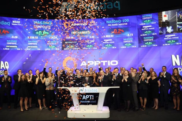 Apptio representatives rang the opening bell on the Nasdaq Stock Market. Credit: Nasdaq