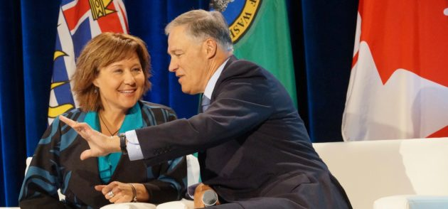 Washington Gov. Jay Inslee and British Columbia Premier Christy Clark. Nat Levy / GeekWire Photo.