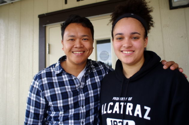 Umali, left, with one of his former students, TAF Academy 10th-grader Anna Sherles. (Lisa Stiffler / GeekWire)