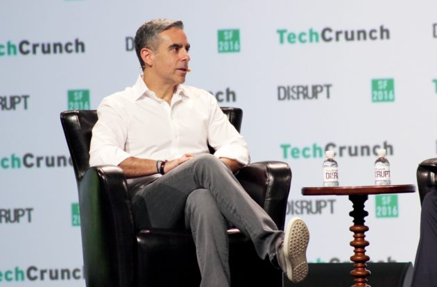 David Marcus, head of Messenger at Facebook, speaks at TechCrunch Disrupt on Monday in San Francisco.