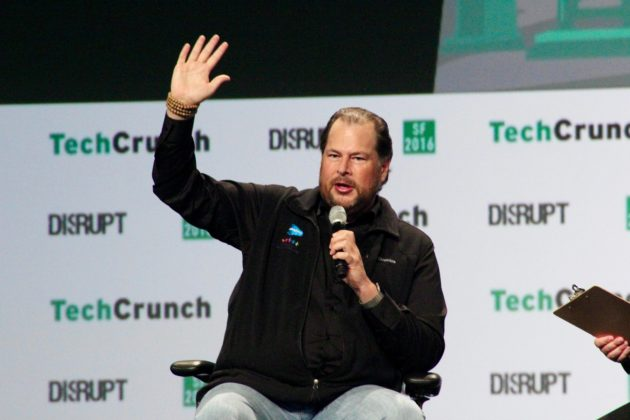 Marc Benioff at TechCrunch Disrupt SF. (GeekWire Photo / Taylor Soper)