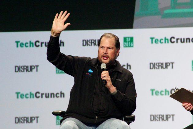 Marc Benioff at TechCrunch Disrupt SF. (GeekWire Photo / Taylor Soper)