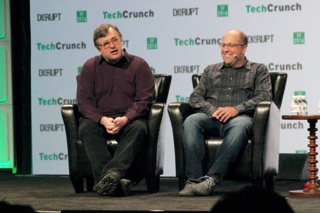 Greylock partners Reid Hoffman and Josh Elman speak at TechCrunch Disrupt in San Francisco on Tuesday. (GeekWire photos)