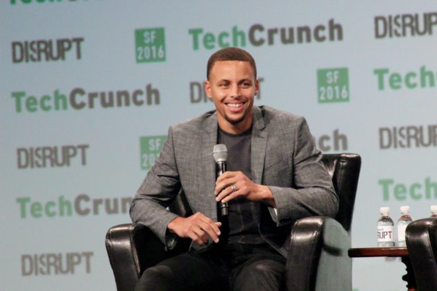 Golden State Warriors point guard Stephen Curry speaks at TechCrunch Disrupt on Tuesday in San Francisco. (GeekWire photos)