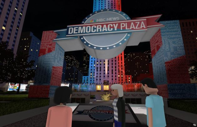 NBC News's Democracy Plaza in New York City, rendered in virtual reality through AltspaceVR, will host several debate watching parties throughout the run-up to November's election, along with other political events. Photo: NBC News.