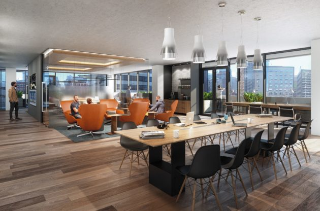 The 7th floor amenity space will feature co-working spaces and meeting rooms along with social spaces, a pet lounge and guest suites.