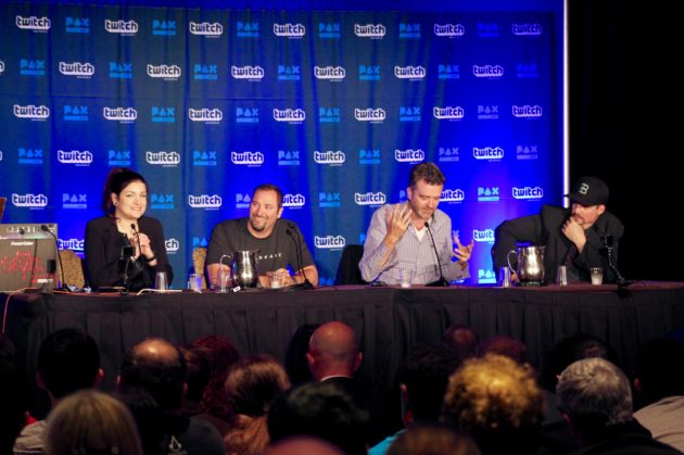 From left: XXX of XXX (moderator); Steffen of Alienware, James Knight of AMD, and Curtis Hickman of The Void. Nat Levy / GeekWire Photo