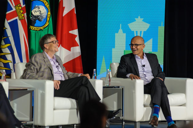 Microsoft Co-founder Bill Gates and CEO Satya Nadella in Vancouver, B.C. (Microsoft Photo)