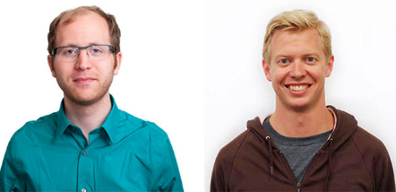 Hipmunk co-founders Adam Goldstein, left, and Steve Huffman