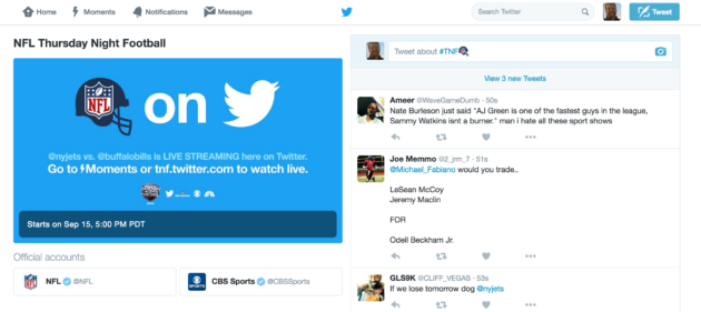 A look at Twitter's Thursday Night Football hub for NFL games.