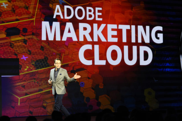 Brad Rencher, Adobe Executive Vice President and General Manager, Digital Marketing, announces the new Adobe Marketing Cloud in Las Vegas on Tuesday, March 22, 2016. Photo via Adobe.