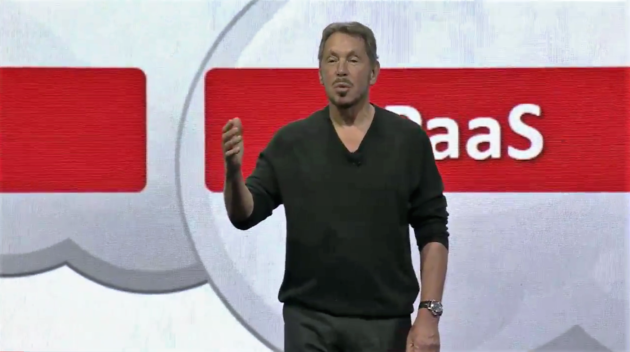 Oracle chairman and CTO Larry Ellison addresses the Oracle OpenWorld users' conference on Sunday on San Francisco (GeekWire photo)