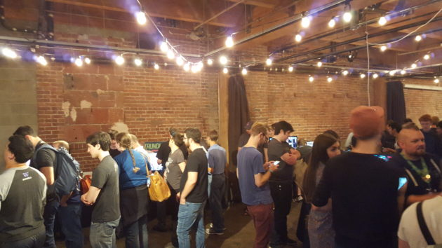 The Indie Expo was more mellow, but still crowded with excited gamers.