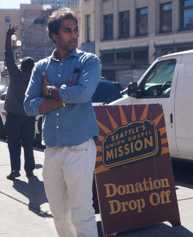 GiveSafe founder Jonathan Kumar in front of the startup's non-profit partner, Seattle's Union Gospel Mission.