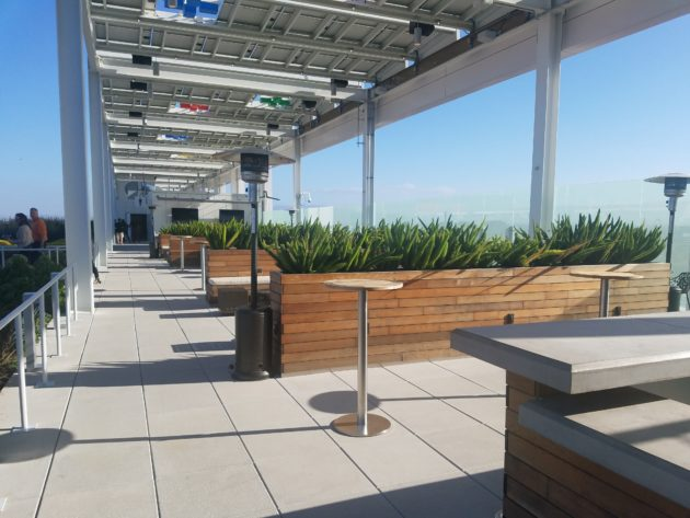 """Solar panels line """"green roof"""" on the ninth-floor of the Levi's Stadium."""