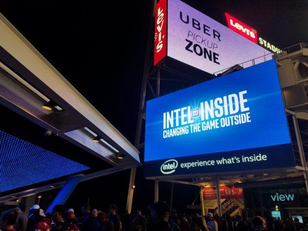 Uber and Intel had big branding at the stadium.