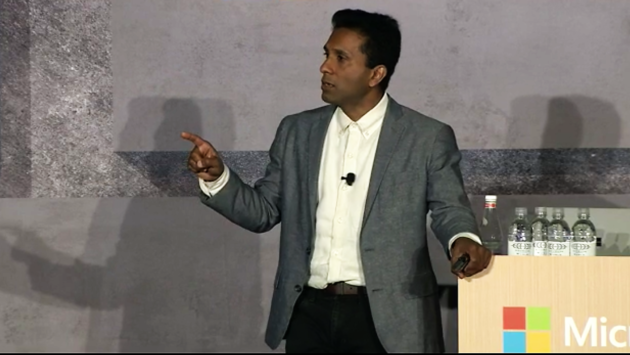 Joseph Sirosh, corporate vice president of Microsoft's data group, leads a session at Ignite 2016.