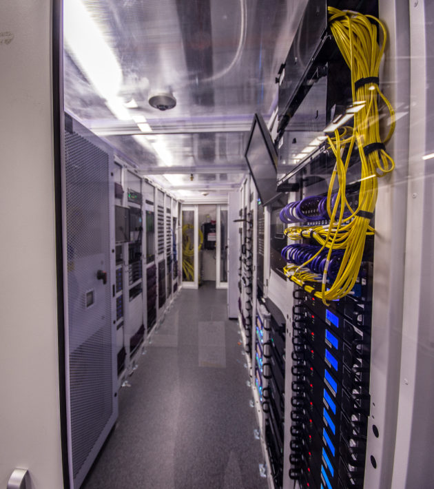 This is the rack within the data center that controls the NBA's first 4K Ultra-HD video board, developed jointly with Panasonic.