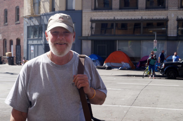 Steve Gross, a beacon-holder struggling with a terminal condition, stays at Seattle's Union Gospel Mission.