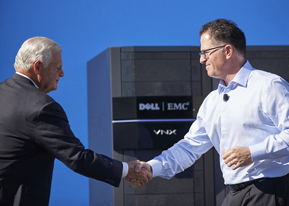 EMC's Joe Tucci and Dell's Michael Dell. (Via EMC)