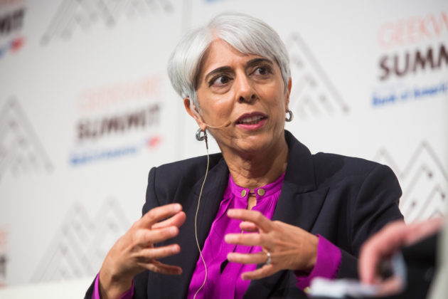 Arati Prabhakar, director of DARPA, Day at the GeekWire Summit (Dan DeLong for GeekWire)