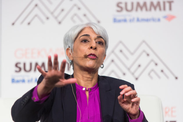 DARPA Director Arati Prabhakar speaks during Day 2 of the GeekWire Summit 2016 at the Seattle Sheraton, October 5, 2016. Photo by Dan DeLong for GeekWire