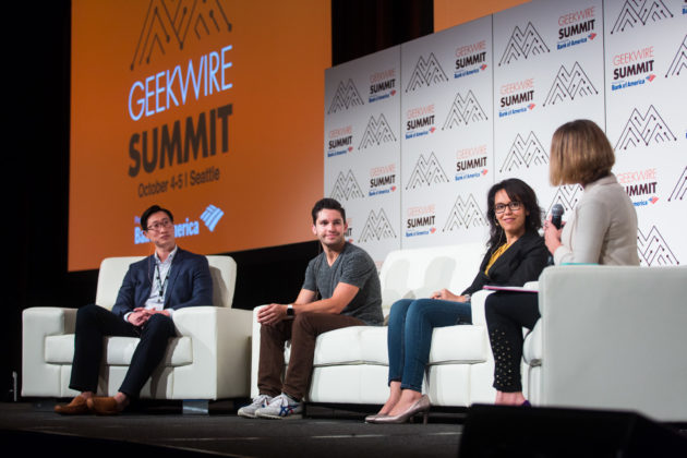 Millennials: Growing up Tech panel. (Photo by Dan DeLong for GeekWire).