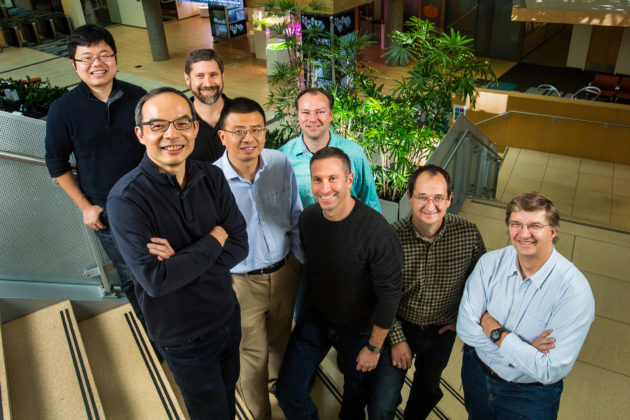 Microsoft Artificial Intelligence group researchers, from top left, back row: Wayne Xiong, Geoffrey Zweig, Frank Seide, front row, Xuedong Huang, Dong Yu, Mike Seltzer, Jasha Droppo and Andreas Stolcke. Photo by Dan DeLong